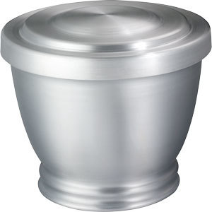 "Spun aluminum urn in our ""Service Products"" category designed for use as a receiving or minimal urn. Pure aluminum with a brushed pewter satin finish.