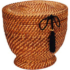 [Image: The Mesa urn is an urn of classic basic design, handcrafted from rattan.  Used in conjunction with a natural cotton and Biobag this urn is fully and completely biodegradable.  Even the packaging of this urn is natural and degradable.